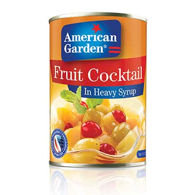 Picture of canned fruit cocktail from American Garden