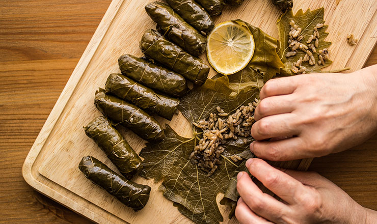 How to roll grape leaves step by step