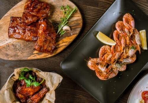 shrimps-chicken-wings-grilled-liver